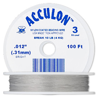 """3-Strand 0.012"""" - Acculon® - Clear - 100 Foot spool - Nylon-coated Stainless Steel Beading Wire"""