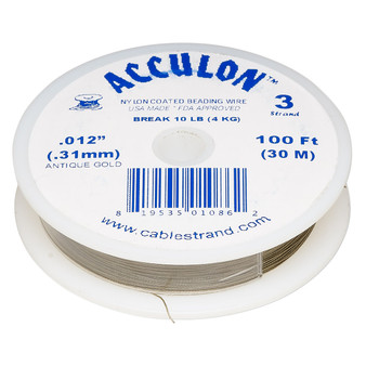 """3-Strand 0.012"""" - Acculon® - Gold - 100 Foot spool - Nylon-coated Stainless Steel Beading Wire"""