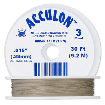 """3-Strand 0.015"""" - Acculon® - Gold - 30 Foot spool - Nylon-coated Stainless Steel Beading Wire"""