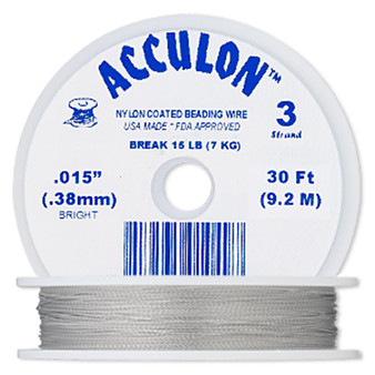 """3-Strand 0.015"""" - Acculon® - Clear - 30 Foot spool - Nylon-coated Stainless Steel Beading Wire"""