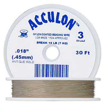 """3-Strand 0.018"""" - Acculon® - Gold - 30 Foot spool - Nylon-coated Stainless Steel Beading Wire"""