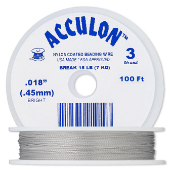 """3-Strand 0.018"""" - Acculon® - Clear - 100 Foot spool - Nylon-coated Stainless Steel Beading Wire"""