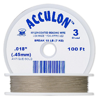 """3-Strand 0.018"""" - Acculon® - Gold - 100 Foot spool - Nylon-coated Stainless Steel Beading Wire"""
