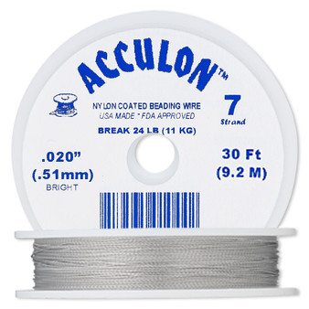 """7-Strand 0.020"""" - Acculon® - Clear - 30 Foot spool - Nylon-coated Stainless Steel Beading Wire"""