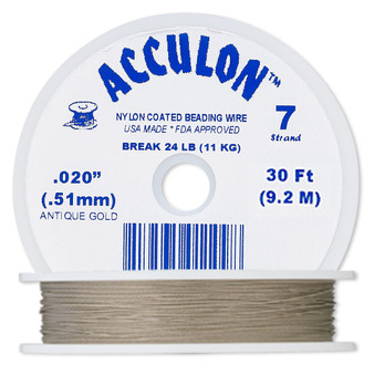"""7-Strand 0.020"""" - Acculon® - Gold - 30 Foot spool - Nylon-coated Stainless Steel Beading Wire"""