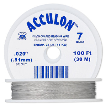 """7-Strand 0.020"""" - Acculon® - Clear - 100 Foot spool - Nylon-coated Stainless Steel Beading Wire"""