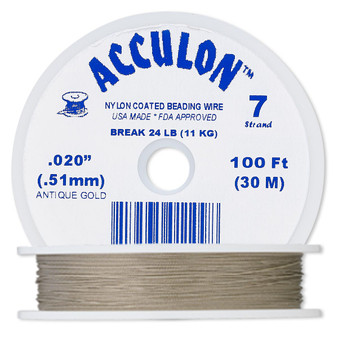"""7-Strand 0.020"""" - Acculon® - Gold - 100 Foot spool - Nylon-coated Stainless Steel Beading Wire"""