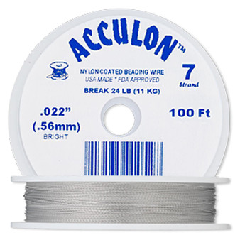 """7-Strand 0.022"""" - Acculon® - Clear - 100 Foot spool - Nylon-coated Stainless Steel Beading Wire"""