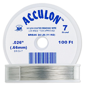 """7-Strand 0.026"""" - Acculon® - Clear - 100 Foot spool - Nylon-coated Stainless Steel Beading Wire"""