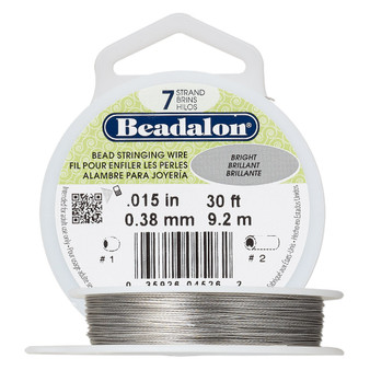 "7-Strand 0.015"" - Beadalon® - Bright - 30 Foot spool - Nylon-coated Stainless Steel Beading Wire"