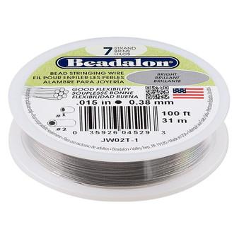 "7-Strand 0.015"" - Beadalon® - Bright - 100 Foot spool - Nylon-coated Stainless Steel Beading Wire"
