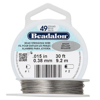"49-Strand 0.015"" - Beadalon® - Bright - 30 Foot spool - Nylon-coated Stainless Steel Beading Wire"