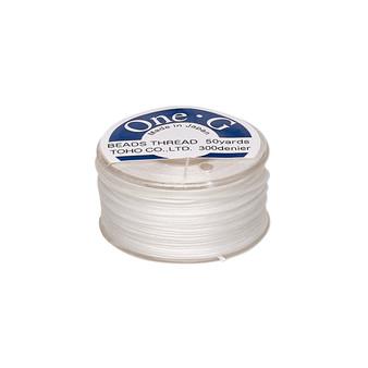 Thread, TOHO BEADS®, One-G™, nylon. 1 x Spool Size O - 50yds White