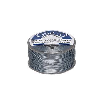 Thread, TOHO BEADS®, One-G™, nylon. 1 x Spool Size O - 50yds Grey
