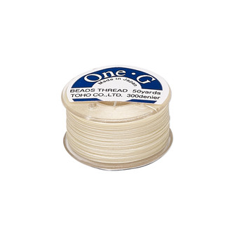 Thread, TOHO BEADS®, One-G™, nylon. 1 x Spool Size O - 50yds Cream
