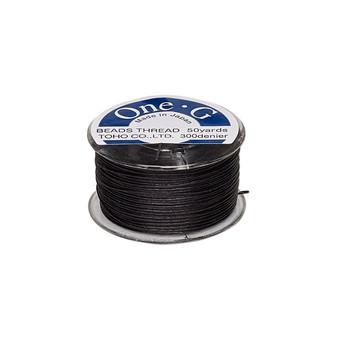 Thread, TOHO BEADS®, One-G™, nylon. 1 x Spool Size O - 50yds Black