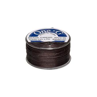 Thread, TOHO BEADS®, One-G™, nylon. 1 x Spool Size O - 50yds Brown