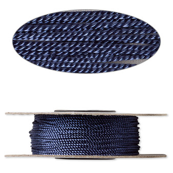 Cord,  nylon. 1 x Spool Size 1mm - 100 foot (twisted) Navy Blue