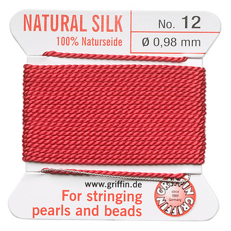 Griffin Thread, Silk 2-yard card with integrated flexible stainless steel needle Size 12 (0.98mm) Red