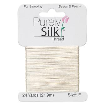 Thread, Purely Silk™, Ecru. 1 x Card Size E - 24yds