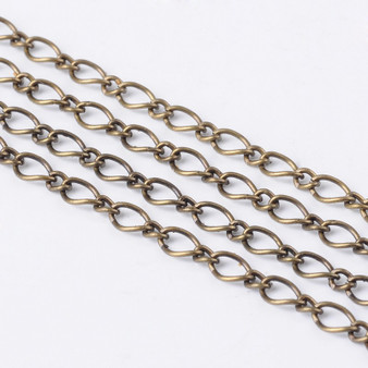 3 metres of Handmade Iron Mother & Son Chain (3.5x6mm & 2.5x3mm) 0.6mm thick (Antique Bronze)