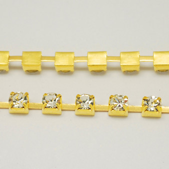 1 metre length of 2mm Wide Gold Tone Grade A Crystal Rhinestone Cup Strass Chain