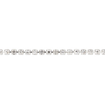 Cupchain, glass rhinestone and silver-plated brass, clear, 2mm round. Sold per pkg of 1 meter, approximately 320 cups.