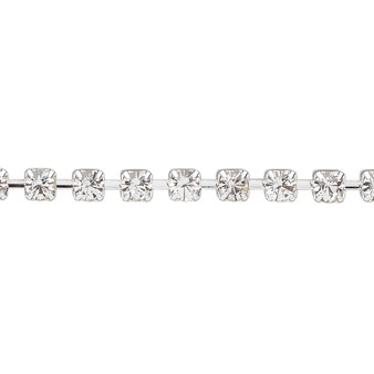 Cupchain, glass rhinestone and silver-plated brass, clear, 4mm round. Sold per pkg of 1 meter, approximately 160 cups.