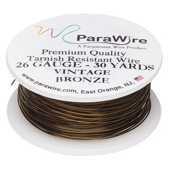 Wire, ParaWire™, vintage bronze-finished copper, round, 26 gauge. Sold per 30-yard spool.