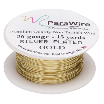 Wire, ParaWire™, gold-finished and silver-plated copper, round, 26 gauge. Sold per 15-yard spool.