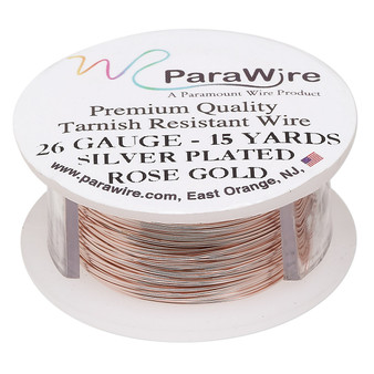Wire, ParaWire™, rose gold-finished copper, round, 26 gauge. Sold per 15-yard spool.