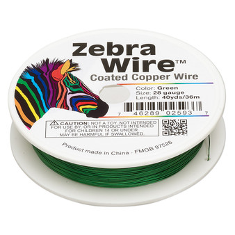 1 x reel of Zebra Wire round - 28 guage (40 yards, 36 metres) Green