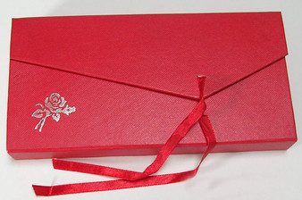Limited Stock - 6 x Cardboard Double Bracelet Display-Packaging Box - Red with Red Ribbon Tie and 2 x Satin Bracelet box inserts
