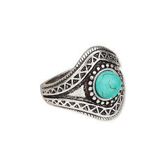 """Ring, magnesite (dyed / stabilized) and antique silver-plated """"pewter"""" (zinc-based alloy), blue, 22mm wide with round, size US8. Sold individually."""