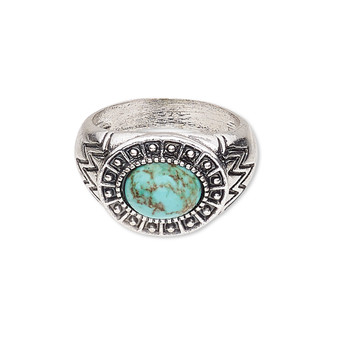 """Ring, magnesite (dyed / stabilized) and antique silver-plated """"pewter"""" (zinc-based alloy), turquoise blue, 18mm wide with oval, size US9. Sold individually"""