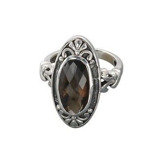 Ring, sterling silver and smoky quartz (heated / irradiated), 25x13mm marquise, 16x10mm faceted oval, size US7. Sold individually.