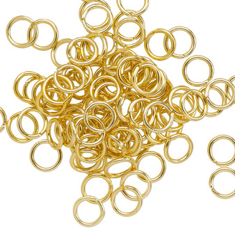 Jump ring, anodized aluminum, gold, 6mm round, 4.2mm inside diameter, 18 gauge. Sold per pkg of 100.