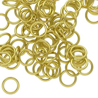 Jump ring, brass, 8mm round, 6.2mm inside diameter, 18 gauge. Sold per pkg of 100.