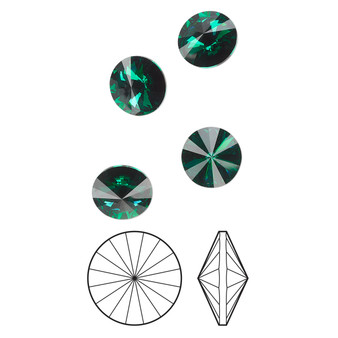 14mm - Preciosa MAXIMA Czech  - Emerald - 4 pack - Foil back Faceted Rivoli