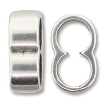Slider Component Inner Diameter 5mm x 2 -  Ant Silver - 5 pack