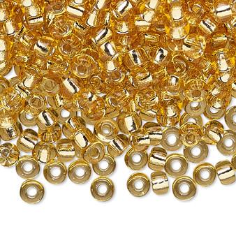 6-132S - 6/0 - Miyuki - Transparent Silver Lined Lt Topaz - 25gms - Glass Round Seed Bead