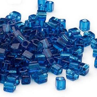 SB4-149 - Miyuki - 4mm - Transparent Dark Blue - 25gms - 4mm Square Glass Bead