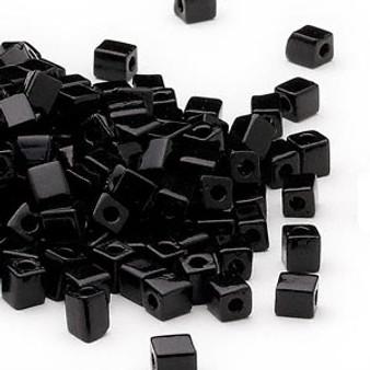 SB4-401 - Miyuki - 4mm - Opaque Black - 25gms - 4mm Square Glass Bead