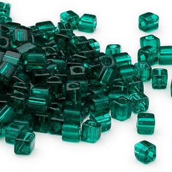 SB4-147 - Miyuki - 4mm - Transparent Dark Green - 25gms - 4mm Square Glass Bead