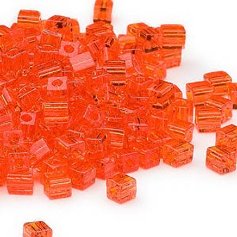 SB4-138 - Miyuki - 4mm - Transparent Orange - 25gms - 4mm Square Glass Bead