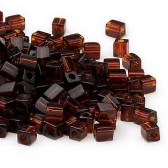 SB4-134 - Miyuki - 4mm - Transparent Dark Amber Yellow - 25gms - 4mm Square Glass Bead