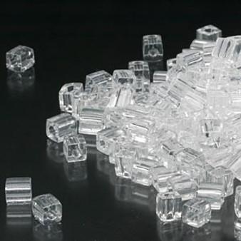 SB4-131 - Miyuki - 4mm - Transparent Clear - 25gms - 4mm Square Glass Bead
