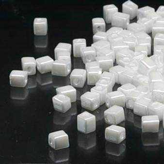 SB4-420 - Miyuki - 4mm - Opaque Metallic White - 25gms - 4mm Square Glass Bead