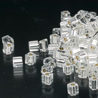 SB4-1 - Miyuki - 4mm - Silver Lined Clear - 25gms - 4mm Square Glass Bead