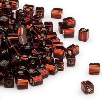 SB4-5 - Miyuki - 4mm - Silver Lined Dark Amber Yellow - 25gms - 4mm Square Glass Bead